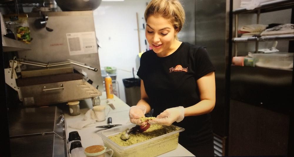 Arzu Esendemir making Flatbread Grill's falafel, featuring a gluten-free recipe we created