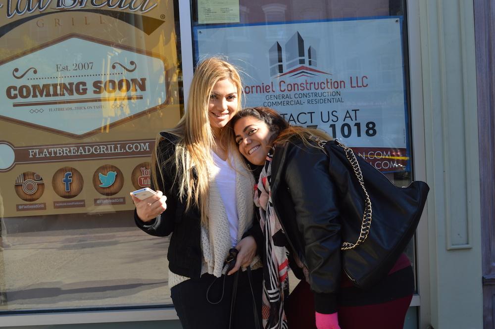 Arzu Esendemir and Gonca Esendemir Outside Flatbread Grill Hoboken NJ